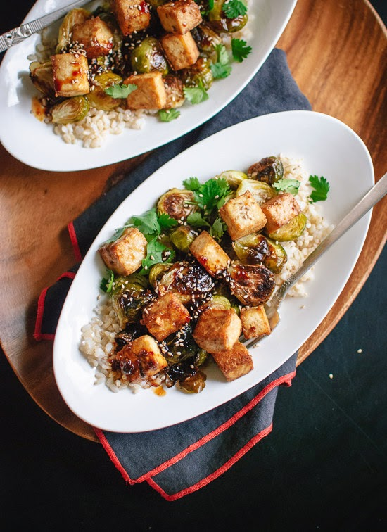http://cookieandkate.com/2014/roasted-brussels-sprouts-and-crispy-baked-tofu-with-honey-sesame-glaze/
