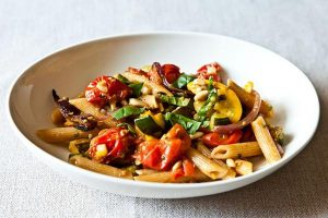 https://food52.com/recipes/18440-penne-with-sweet-summer-vegetables-pine-nuts-and-herbs